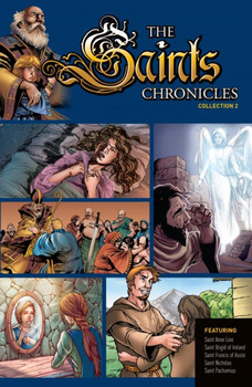 In this handsome graphic novel, you'll join some of the world's greatest saints in their inspiring – and often exciting and even dangerous – quests for holiness. These thrilling stories and stunning images found here will captivate you and fascinate readers of all ages.  Here you'll meet:  • St. Nicholas, the orphaned boy who generously ministered to the sick and the poor, and eventually became the wise and just bishop of Myra.  • St. Francis of Assisi, the rough soldier who put down his weapons, renounced his possessions, and went on to establish two great religious orders.  • St. Brigid of Ireland, the young girl who fled from an impending, arranged marriage to become a nun, and devote her life completely to the Lord.  • St. Pachomius, the Roman soldier who became a Christian and ventured into the Egyptian desert to pray, establishing there numerous monasteries.  • St. Anne Line, the gentle Catholic convert in the Protestant England who was arrested and cruelly executed for hiding fellow Catholics from murderous anti-Catholic government agents.  Embark here on great adventures of the Christian Life! These gripping stories of Catholic heroes call on each of us to follow boldly God's unique plan for our lives, and, as did the saints, to reach the very heights of holiness.