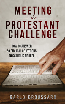 "Every Catholic has heard the challenge:  ""How can you believe that? Don't you know the Bible says…""  It's a challenge we have to meet. If we can't reconcile apparent contradictions between Scripture and Catholic teaching, how can our own faith survive? And if we can't help our Protestant brothers and sisters overcome their preconceptions about ""unbiblical"" Catholic doctrines and practices, how will they ever come to embrace the fullness of the Faith?  In Meeting the Protestant Challenge, Karlo Broussard gives you the knowledge and tools you need to answer fifty of the most common Bible-based objections to Catholicism.      How can the Mass be a sacrifice when the Bible says it's just a memorial?     Why do Catholics stress good works when the Bible says we're saved by faith?     Scripture says that all have sinned—so what Catholics believe about Mary being ""immaculate"" is plainly false.     Jesus said to call no man father, yet that's what Catholics call their priests! How much clearer could it be?  For these challenges and many more, Karlo provides a step-by-step plan for understanding the roots of the objection, breaking down the context and full meaning of the Scripture passages, anticipating followup arguments, and offering your own friendly counter-challenge to help Protestants begin to see how the Bible and Catholic teaching actually coexist in harmony.  Don't get caught off guard! When the next biblical challenge comes, be ready to meet it with confidence."