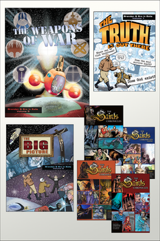 Graphic Novels are a great new way to share the Catholic Faith, and we've got the collection to end them all at a very special price.  The Graphic Novel Mega Pack includes:      The Truth Is Out There     The Big Picture     Weapons of War     Saints Chronicles 1     Saints Chronicles 2     Saints Chronicles 3     Saints Chronicles 4