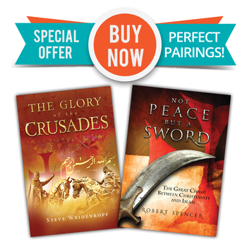 Two Great Books  - One Low Price!  In The Glory of the Crusades Steve Weidenkopf relates the Crusades' many dramas—their heroes and villains, battles and sieges, intrigues and coincidences—offering a vivid and engrossing account of events that, though centuries old, have profoundly affected the course of our world to the present day.  In Not Peace But a Sword, Robert Spencer, the New York Times best-selling author of more than a dozen books dealing with Islam and the West, shines the light of truth on areas where Christians and Muslims don't just quibble over small details but fundamentally disagree.