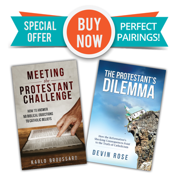 Two Great Books  - One Low Price!  In The Protestant's Dilemma, Devin Rose examines over thirty Protestant beliefs, showing with solid evidence, compelling reason, and gentle humor how the major tenets of Protestantism—if honestly pursued to their furthest extent—wind up in dead ends of absurdity.  The Protestant's Dilemma is the perfect book to give non-Catholics trying to work through their own nagging doubts, or for Catholics looking for a fresh way to deepen their understanding of the Faith.  In Meeting the Protestant Challenge, Karlo Broussard gives you the knowledge and tools you need to answer fifty of the most common Bible-based objections to Catholicism.  For these challenges and many more, Karlo provides a step-by-step plan for understanding the roots of the objection, breaking down the context and full meaning of the Scripture passages, anticipating followup arguments, and offering your own friendly counter-challenge to help Protestants begin to see how the Bible and Catholic teaching actually coexist in harmony.  Don't get caught off guard! When the next biblical challenge comes, be ready to meet it with confidence.