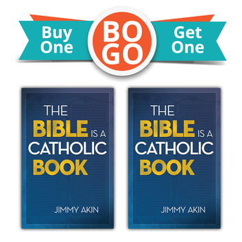 """Buy One, Get One Free!  Many Protestants call themselves """"Bible Christians""""—in contrast with Catholics, who ignore the Bible because they have the Church instead.  Too many Catholics have taken this mistaken assumption for granted.  We don't have to anymore, says Jimmy Akin.  Instead, we should embrace Sacred Scripture—not just as the revealed written word of God but as a thoroughly Catholic work, intimately connected with the Church from the earliest centuries.  In The Bible Is a Catholic Book, Jimmy shows how the Bible cannot exist apart from the Church. In its origins and its formulation, in the truths it contains, in its careful preservation over the centuries and in the prayerful study and elucidation of its mysteries, Scripture is inseparable from Catholicism. This is fitting, since both come from God for our salvation.  If you're a Catholic who sometimes gets intimidated by the Bible (especially scriptural challenges from Protestants), The Bible Is a Catholic Book will help you better understand and take pride in this gift that God gave the world through the Church. We are the original """"Bible Christians""""!  And even non-Catholics will appreciate the clear and charitable way that Jimmy explains how the early Church gave us the Bible—and how the Church to this day reveres and obeys it."""