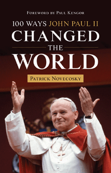 John Paul II changed the world forever in many ways; 100 Ways John Paul II Changed the World describes 100 of the most important.   Each of the 100 accomplishments, teachings, or stories about John Paul II is fascinating, providing a glimpse into the astounding life and impact of this great and beloved saint.  The book is written in a comprehensive yet easy-going style that invites the reader to involuntarily turn to the next page of discourse about the experiences of John Paul as he relates to the peoples of the world and their individual personalities throughout his twenty-six years as pope.  The reader participates in his story of faith as it exudes from his very being in his personal and public relationship with God.