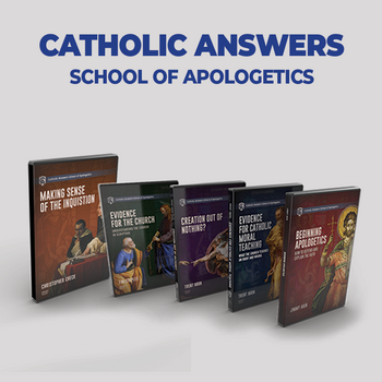 This Special Offering of our School of Apologetics home courses includes:      Beginning Apologetics taught by Jimmy Akin     Evidence for Catholic Moral Teaching taught by Trent Horn     Making Sense of the Inquisition taught by Christopher Check     Creation Out of Nothing? taught by Trent Horn     Evidence for the Church by Tim Staples  Sign up yourself or a loved one today for a great start into the School of Apologetics offerings at very special price