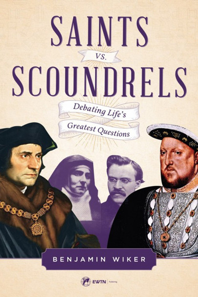 "Saints vs. Scoundrels puts you in a ringside seat where you'll witness five thrilling rounds of verbal battles between famous Catholics and infamous anti-Catholics.  Round One ST. AUGUSTINE vs. JEAN-JACQUES ROUSSEAU In the first round, St. Augustine, the 5th century Catholic bishop, argues with and (after a struggle) dismantles the radically anti-Christian arguments of 18th-century French philosopher, Jean-Jacques Rousseau.  Round Two: ST. THOMAS MORE vs. HENRY VIII Be at ringside for the second round as the wise but humble St. Thomas More confronts the tyrant who would later put him to death. More goes toe-to-toe with proud King Henry VIII, the wicked, fallen-away Catholic whose ruthless war against English Catholics and the Catholic Faith was sparked – and sustained – by his lustful, illicit, murderous marriages to one woman, then another, and yet another: six in all!  Round Three: FLANNERY O' CONNOR vs. AYN RAND Round 3 pits Southern Catholic novelist Flannery O'Connor against her 20th-century contemporary, novelist Ayn Rand, famous for her promotion of egoism as the standard by which we all should live. From this lively, literate battle of wits and words, you'll learn where true strength and happiness lie: in selfishness or in service.  Round Four: ST. FRANCIS OF ASSISI vs. NICCOLO MACHIAVELLI Round 4 features the gentle St. Francis of Assisi verbally battling the domineering, disdainful Niccolo Machiavelli: two men whose views couldn't be more opposed about the nature of morality, the truth of religion, and the right way to exercise political power. Will a miracle wrought by the arguments of the little medieval saint shatter the stern views of the hard-hearted, thoroughly modern Machiavelli?  Round Five: ST. TERESA BENEDICTA vs. FRIEDRICH NIETZSCHE Round 5 introduces you to Edith Stein, the Jewish woman who converted to Catholicism and soon became Carmelite Sister Teresa Benedicta of the Cross, executed at Auschwitz for her Jewish blood. Recently canonized by John Paul II, St. Teresa Benedicta finds herself in Round 5 rudely attacked by Friedrich Nietzsche, the infamous nineteenth-century atheist-philosopher who proudly declared ""God is dead!"" From that point on, saint and scoundrel go head-to-head in a thrilling battle of philosophies, with one of them emerging victorious and the other frustrated and pushed to the breaking point.  Granted, these men and women never met in real life, but the ideas they represent have battled each other for centuries . . . and they clamor for your allegiance even as you read these words.  What better way is there to come to understand them in their full force – and in the fullness of their truth and their error – than by means of these imagined debates drafted by philosopher/historian Benjamin Wiker?  Go Five Rounds with these ten fighters!  It's great fun.  Better yet, it will train you to engage in similar discussions around your dinner table, at work, or at the next cocktail party when you hear scoundrels casually disparaging your Catholic Faith.  You may be no saint, but I'll bet you'd like to give those scoundrels a run for their money! If so, Saints vs. Scoundrels is the book for you!"