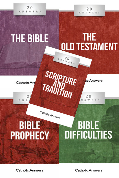 This Sampler includes 1 each of:      20 Answers: The Bible     20 Answers: The Old Testament     20 Answers: Scripture & Tradition     20 Answers: Bible Difficulties     20 Answers: Bible Prophecy  They can also all be ordered individually in bulk at great discounts