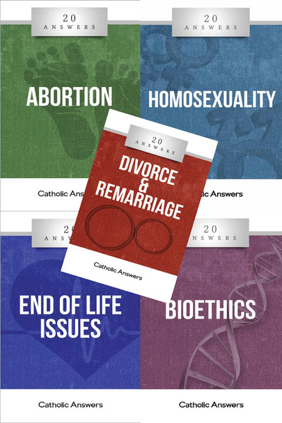 This Sampler includes 1 each of:      20 Answers: Abortion     20 Answers: Homosexuality     20 Answers: Divorce & Remarriage     20 Answers: End Of Life Issues     20 Answers: Bioethics  They can also all be ordered individually in bulk at great discounts