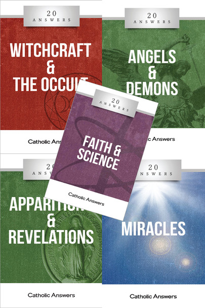 This Sampler includes 1 each of:      20 Answers: Apparitions     20 Answers: Witchcraft & the Occult     20 Answers: Miracles     20 Answers: Faith & Science     20 Answers: Angels & Demons  They can also all be ordered individually in bulk at great discounts