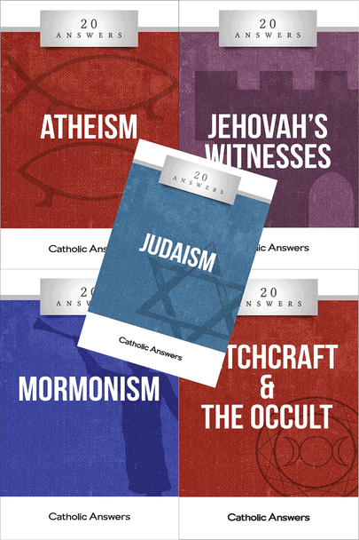 This Sampler includes 1 each of:      20 Answers: Judaism     20 Answers: Mormonism     20 Answers: Jehovah's Witnesses     20 Answers: Witchcraft & The Occult     20 Answers: Atheism  They can also all be ordered individually in bulk at great discounts