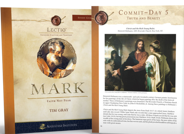 Beautifully and thoughtfully crafted, this personal study guide leads you deeper into the study of Lectio Mark: Faith Not Fear with Dr. Tim Gray and provides you with over 200 pages of impactful content.  Engaging and accessible, this 232 page study guide includes:    – the lectio divina approach for each session   – penetrating questions and insights for the fourteen video sessions   – additional resources for a fuller understanding and application   – daily reflections to deepen the meaning of the study in your own life  – space for personal journaling
