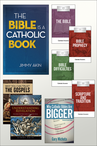 If you love Scripture and love Apologetics, you're going to really love this special we've put together at a very special price  The Bible Study Kit includes:      The Bible Is a Catholic Book     Hard Sayings     20 Answers: The Bible     20 Answers:Bible Prophecy     20 Answers:Bible Difficulties     20 Answers:Scripture & Tradition     Why Catholic Bibles Are Bigger     DVD – Understanding Revelation     DVD – Why You Can Trust The Gospels