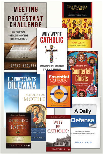 If you love Apologetics, you're going to really love this special kit we've put together at a very special price  The Apologetics Tool Kit includes:      Meeting the Protestant Challenge     The Protestants Dilemma     A Daily Defense     Why We're Catholic     Behold Your Mother     Essential Catholic Survival Guide     The Fathers Know Best     Counterfeit Christs     DVD – Defending Your Faith     DVD – Why Be Catholic?