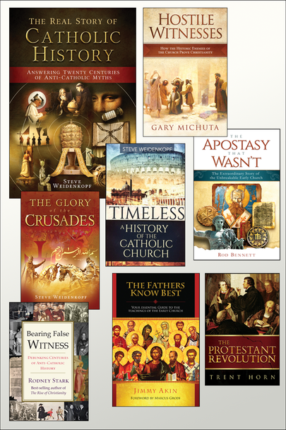 If you love Church History, you're going to really love this special we've put together at a very special price  The Church History Kit includes:      Real Story Of Catholic History     Glory of the Crusades     The Fathers Know Best     Bearing False Witness     DVD - The Protestant Revolution     The Apostasy That Wasn't     Hostile Witnesses     Timeless
