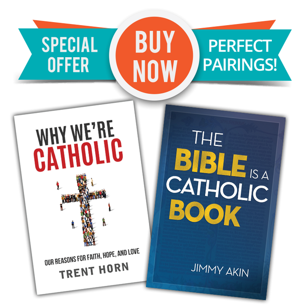 """Two Great Books  - One Low Price!  Why We're Catholic is that one book you can give to anybody who wants to know more about what the Catholic Church really believes. Beginning with how we can know reality and ending with our hope of eternal life, it's the perfect way to help skeptics and seekers (or Catholics who want to firm up their faith) understand the evidence that bolsters our belief—and brings us joy.  In The Bible Is a Catholic Book, Apologist Jimmy Akin shows how the Bible cannot exist apart from the Church. In its origins and its formulation, in the truths it contains, in its careful preservation over the centuries and in the prayerful study and elucidation of its mysteries, Scripture is inseparable from Catholicism. This is fitting, since both come from God for our salvation.  If you're a Catholic who sometimes gets intimidated by the Bible (especially scriptural challenges from Protestants), The Bible Is a Catholic Book will help you better understand and take pride in this gift that God gave the world through the Church. We are the original """"Bible Christians""""!  And even non-Catholics will appreciate the clear and charitable way that Jimmy explains how the early Church gave us the Bible—and how the Church to this day reveres and obeys it."""