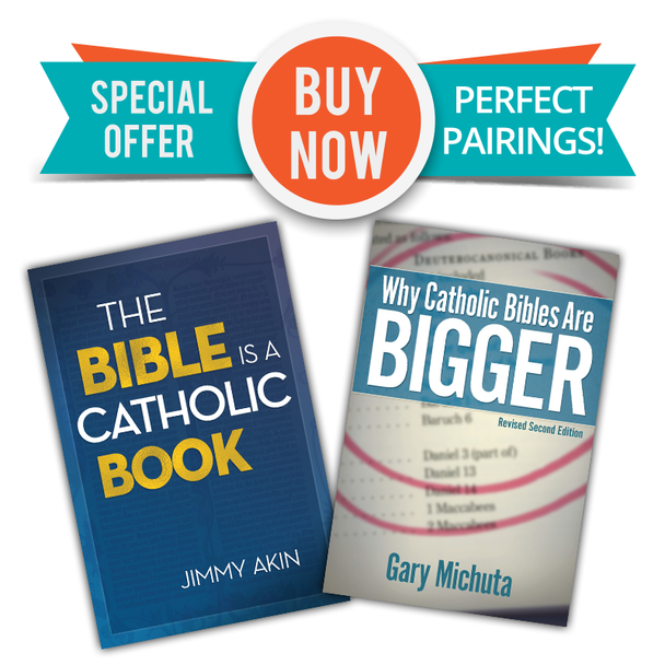 "Two Great Books  - One Low Price!  In The Bible Is a Catholic Book, Apologist Jimmy Akin shows how the Bible cannot exist apart from the Church. In its origins and its formulation, in the truths it contains, in its careful preservation over the centuries and in the prayerful study and elucidation of its mysteries, Scripture is inseparable from Catholicism. This is fitting, since both come from God for our salvation.  If you're a Catholic who sometimes gets intimidated by the Bible (especially scriptural challenges from Protestants), The Bible Is a Catholic Book will help you better understand and take pride in this gift that God gave the world through the Church. We are the original ""Bible Christians""!  And even non-Catholics will appreciate the clear and charitable way that Jimmy explains how the early Church gave us the Bible—and how the Church to this day reveres and obeys it.  Some differences between Catholicism and Protestantism can be tricky to grasp, but one of them just requires the ability to count: Catholic bibles have seventy-three books, whereas Protestant bibles have sixty-six—plus an appendix with the strange title Apocrypha.  In Why Catholic Bibles Are Bigger, Gary Michuta presents the authoritative work on this key issue.  Combing the historical record from pre-Christian times to the Patristic era to the Reformation and its aftermath, he traces the canon controversy through the writings and actions of its major players."