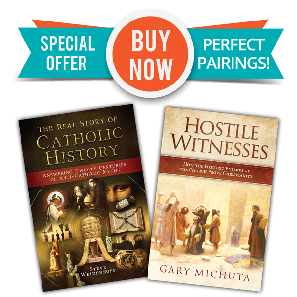 Two Great Books  - One Low Price!  In The Real Story of Catholic History Professor Weidenkopf collects over fifty of the most common and dangerous lies about Catholic history and, drawing on his experience as a historian and apologist, shows how to answer them simply and powerfully.  Whether it's claims about Catholicism's supposedly pagan origins, old myths about Galileo or the Inquisition that never seem to go away, or more modern misconceptions that anti-Catholics cynically exploit, The Real Story of Catholic History provides the desperately needed corrective.  Packed with research and diligent in pursuit of the truth, while never whitewashing or explaining away the Church's past faults when they're found, The Real Story of Catholic History is an essential resource for every Catholic's bookshelf.  One of the ways Jesus answered his critics was to use their own words against them—to show how even the enemies of the Faith admitted crucial facts that undermined their own position.That's a strategy that defenders of the Faith have taken to heart and employed through the ages - In fact, no matter how hostile and distorted the attacks on Catholicism have been in the centuries that followed, it's proved impossible for critics to mount their attacks without tripping themselves up - and inadvertently testifying to the truth of what they're trying to destroy.  With his book, Hostile Witnesses: How the Historic Enemies of the Church Prove Christianity, renowned author Gary Michuta introduces you to a veritable rogues' gallery of the historic opponents of the Church, beginning with those recorded in the New Testament. He flings open a treasure chest of little-known quotations from the enemies of the Faith and shows how they unwittingly testify to its truth.
