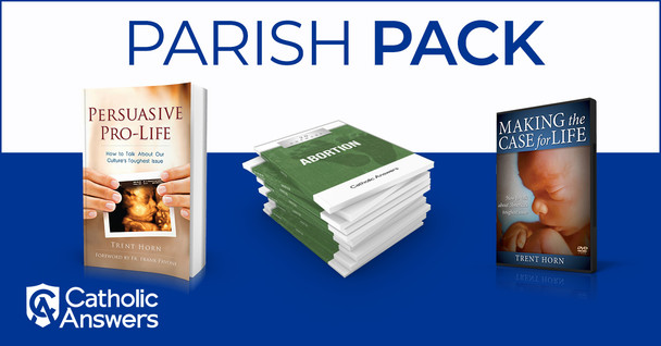 """We've put together a great Pro-life package that will give your parish group everything they need to go out and stand up for life - and at a very special price! Here's what you'll get:      20 copies of Persuasive Pro-Life: Drawing on over a decade as a pro-life organizer, Horn helps you cut through the diversions and obfuscations of the """"pro-choice"""" side in order to accurately frame the legal, historical, and medical issue surrounding abortion. Then he demonstrates—with vivid personal examples from his years of campus activism—the importance of being charitable in all abortion debates, no matter how strident the other side might be. We must be not just warriors for the pro-life cause, he says, but ambassadors for it.With a little knowledge and a few proven techniques, you can become a bold and effective apologist for life.      A copy of the DVD Making the Case for Life: No matter how hard you try, talking with your friends and family about abortion too often winds up at one extreme or the other—either tempers and emotions get out of hand or to keep the peace you agree to disagree and move on to another subject. Neither approach serves the pro-life cause, says Trent Horn. In his DVD, Making the Case for Life, he shows you how to avoid those extremes, presenting a roadmap for talking about abortion that really gets people engaged on the gravest moral question of our age.Using field-tested techniques honed through thousands of encounters in college pro-life ministry, Trent shares practical tips for persuading others to recognize the unborn's fundamental right to life.         100 copies of 20 Answers: Abortion: 20 Answers: Abortion will deepen your understanding of this critical moral issue, and give you the knowledge you need to explain it to others. A great resource to hand out to those interested in the truth bout abortion!"""