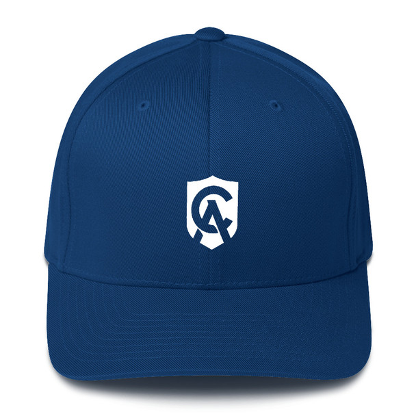 """Available in two sizes with an elastic stretch band, this hat is a sure winner in comfort!  It has an athletic shape with a curved visor.      63% polyester/34% cotton/3% spandex twill     Structured, 6-panel, mid-profile     Stretch band     Silver under visor     Head circumference: 22"""" - 23 ⅞"""""""
