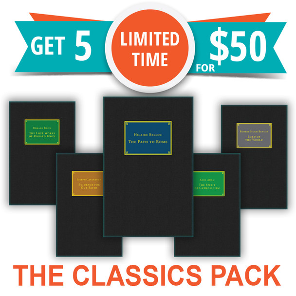 Five Great Apologetics Classics At a Special Price!      Evidence For Our Faith     The Spirit of Catholicism     The Path To Rome     The Lost Works Of Ronald Knox     Lord Of The World  Catholic Answers Classics are the perfect addition to your home library.