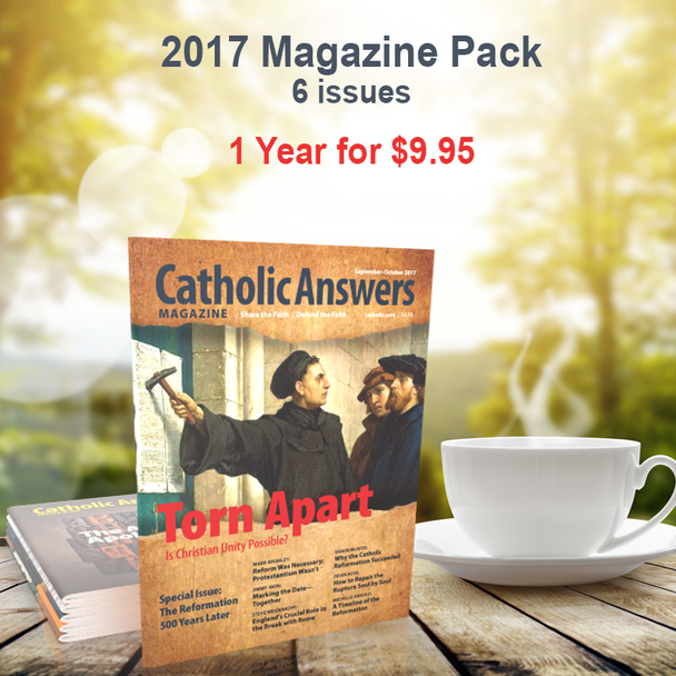 Every issue of our award-winning Catholic Answers Magazine for the year 2017 - In a digital format, and priced just right!  The award-winning Catholic Answers Magazine is always full of useful features and articles by the top names in Catholic Apologetics – Each issue will give you a whole new batch of top-drawer commentary, analysis and topical articles that you can use.