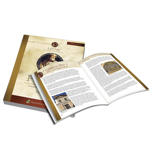 The Study Guide for Peter: Cornerstone of Catholicism is the key to getting the full Lectio experience. This powerful resource was created to lead you deeper into Scripture as you read, reflect, and respond.  Beautifully and thoughtfully crafted, this personal Study Guide leads you deeper into the study of St. Peter and provides you with over 200 pages of incredible content.