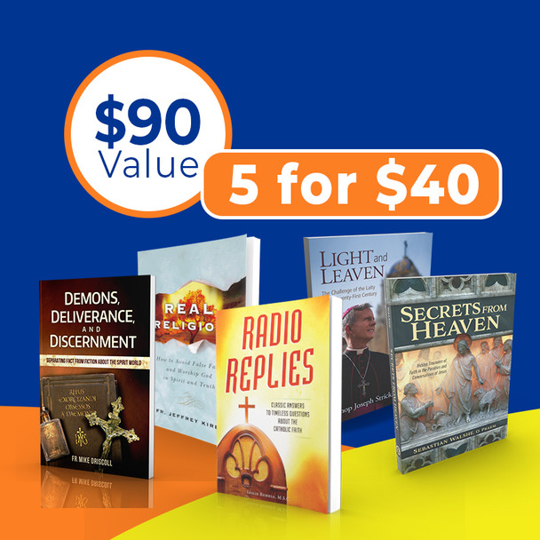 When you need solid advice on pretty much anything Catholic, your first inclination is to ask a Priest.  That's why we put together this very special package of 5 great books with priestly wisdom on all a variety of topics:      Light and Leaven by Bishop Joseph Strickland: In his direct and conversational manner, Bishop Strickland touches on a wide range of topics, including Church renewal in a time of scandal, the central importance of the Eucharist, how to build strong marriages, the need for prayer and silence in a noisy and distracted age, and the battle between good and evil in which all Christians are engaged. He will inspire and edify you with his wise insights, pastoral common sense, and evident love for souls.      Demons, Deliverance, and Discernment by Fr. Mike Driscoll: Drawing on his experience as a priest and counselor, and on his research with exorcists, Fr. Driscoll clears up many popular misconceptions about demons and the spirit world and offers sound information and pastoral advice rooted in Catholic tradition      Real Religion, How to Avoid False Faith and Worship God in Spirit and Truth by Fr. Jeff Kirby: Popular preacher and professor Fr. Jeffrey Kirby cuts through misguided modern notions—idols, really—about God and religion and takes you back to the foundation for true worship: God's revelation about himself.      Secrets From Heaven by Fr. Sebastian Walshe: Fr. Sebastian Walshe helps you break free from stale and familiar takes on the gospel, giving you new eyes to see and new ears to hear the inexhaustible depths of Christ's wisdom. The Parable of the Sowers, the Good Samaritan, the Prodigal Son, the woman caught in adultery—all these and more come alive in fresh ways, revealing significant details and nuances, scriptural/historical connections, and testaments to Christ's rhetorical and pedagogical genius that you've never noted before.      Radio Replies: Classic Answers to Timeless Questions About the Catholic Faith by Fr. Leslie Rumble