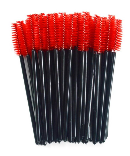 100 x Red and Black Disposable Mascara Wands