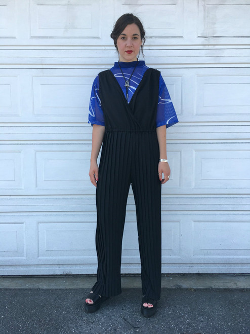 Black Pleats Jumpsuit