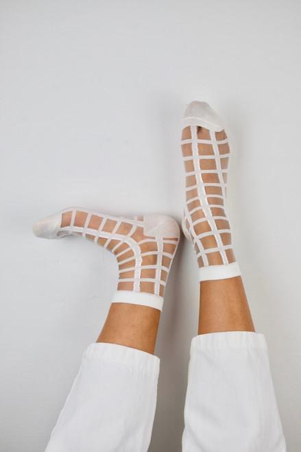 White Grid Pattern Socks