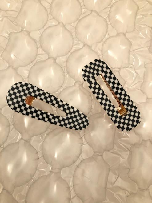 Checkers Hair Clip Set