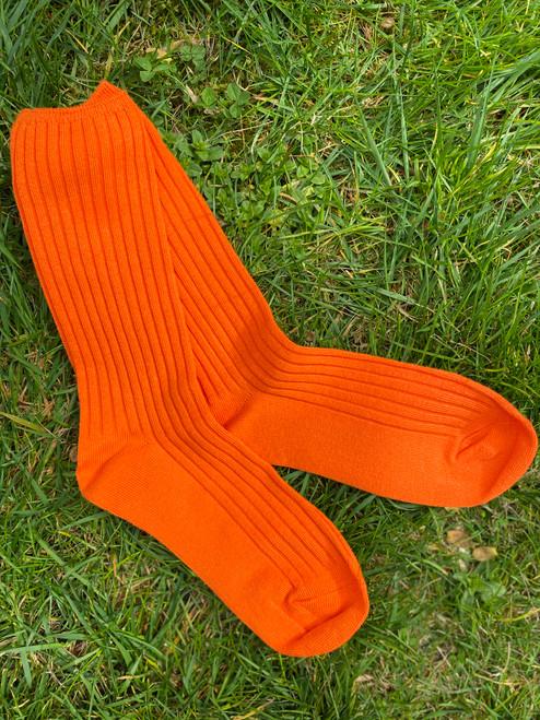Tangerine Basic Ribbed Socks