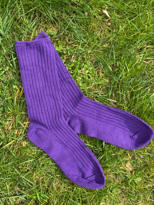 Grape Basic Ribbed Socks