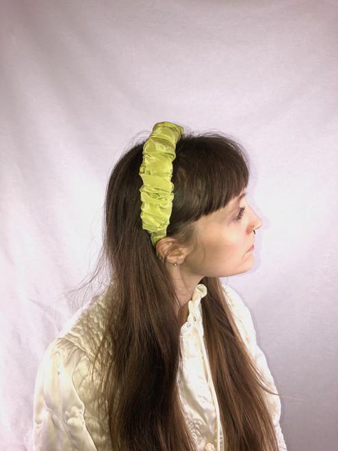 Silk Ruffled Headband (Kiwi)