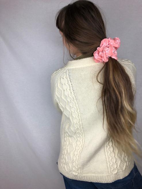 Coral Textured Knit Scrunchie