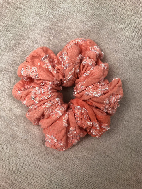 Coral Textured Knit Scrunchie