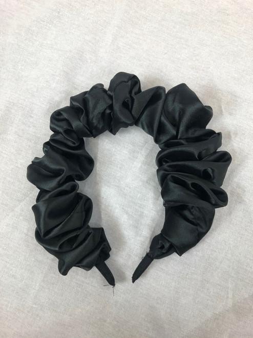 Satin Ruffled Headband (Black)