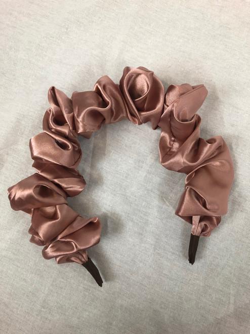 Satin Ruffled Headband (Rose Gold)