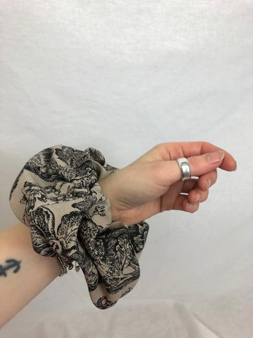 Beige + Black Toile Scrunchie