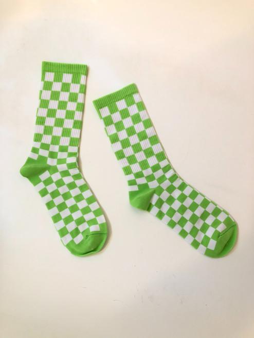 Lime Checkered Picnic Socks