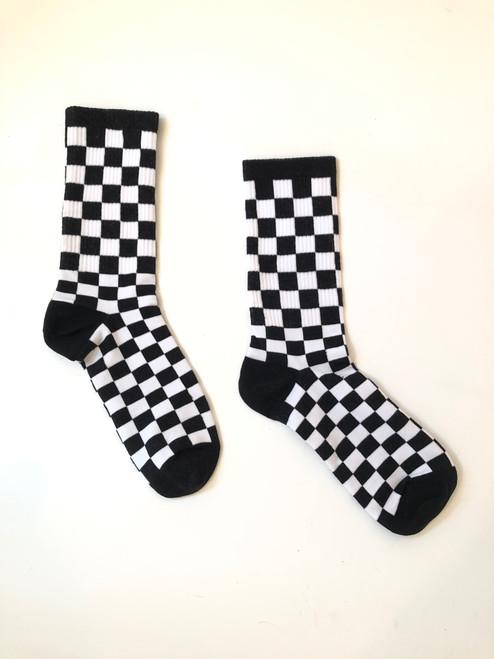 Black Checkered Picnic Socks