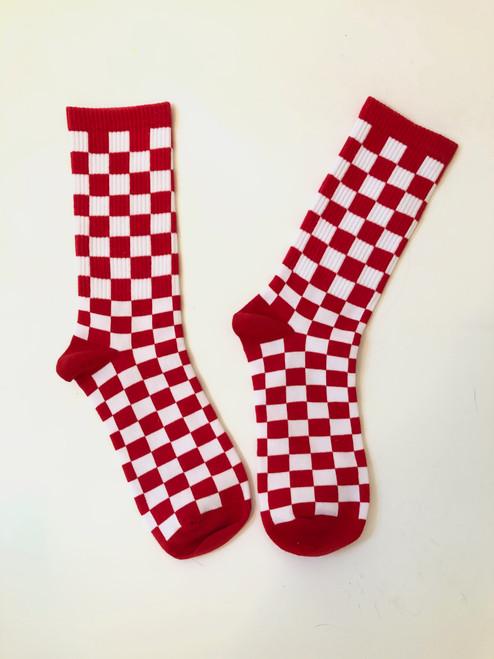 Cherry Checkered Picnic Socks