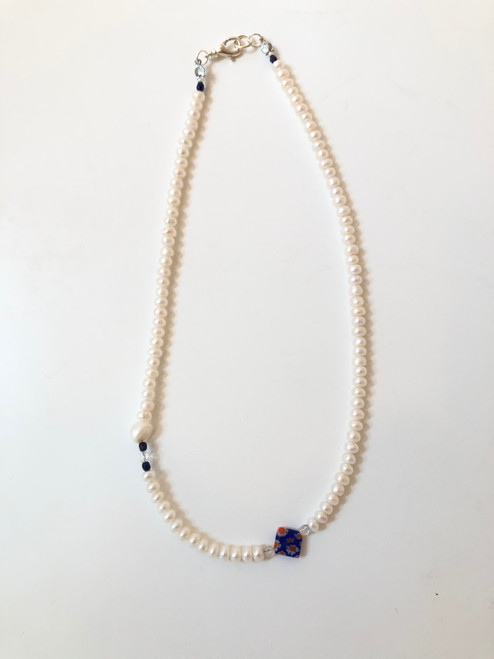 Pearls + 90s Blue Flower Bead Necklace