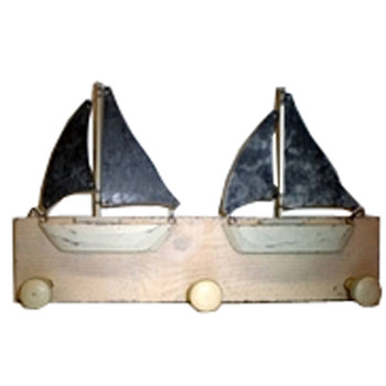 Wooden Sailboat Triple Coat Hook Wood and Tin