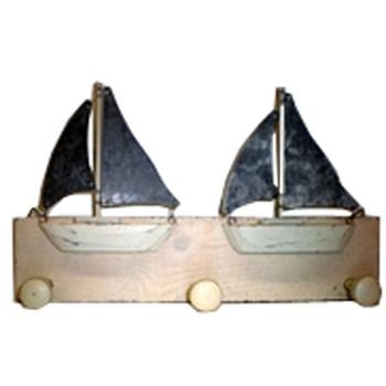 Wooden Sailboat Triple Coat Hook Wood and Tin