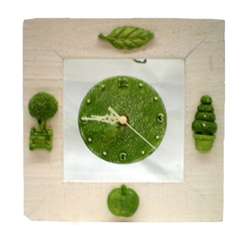 Decorative Green and Off-White Tree Life Clock