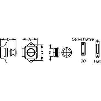 Sea Dog Push Button Rim Latch  224300-1 224301-1  224303-1