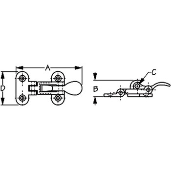 Sea Dog Chrome Brass Anti Rattle Latch  222110-1