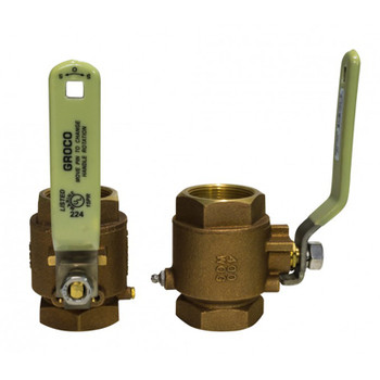 "Groco NPT Treads Inline Ball Valve, Bronze or Stainless, 3/4"", 1"", 1-1/4"""