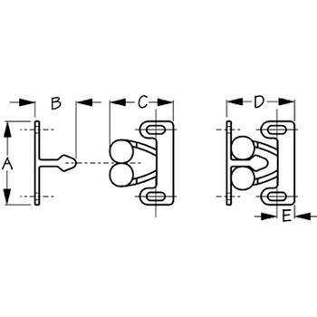 Sea Dog Twin Roller Door Catch Set  227141