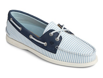 Sperry Women's Authentic Original Seersucker Stripe Boat Shoe (Blue)